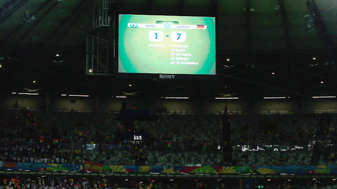 A general view shows the final score of the semi-final football match between Brazil and Germany at The Mineirao Stadium in Belo Horizonte during the 2014 FIFA World Cup on July 8, 2014. Germany won 7-1. (AFP Photo/Adrian Dennis)