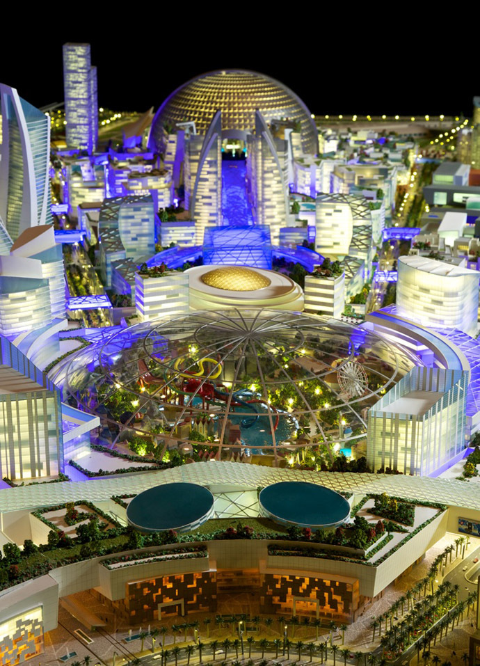 """A handout generated image released on July 6, 2014 by the press office of Sheikh Mohammed Bin Rashid al-Maktoum, ruler of Dubai shows the """"Mall of the World"""" to be built in Dubai. (AFP Photo/Sheikh Mohammed Bin Rashid)"""