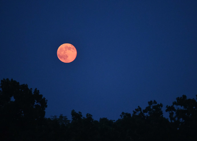 "The ""supermoon"" is seen rising above the Washington, DC skyline on July 12, 2014. (AFP Photo/Mandel Ngan)"