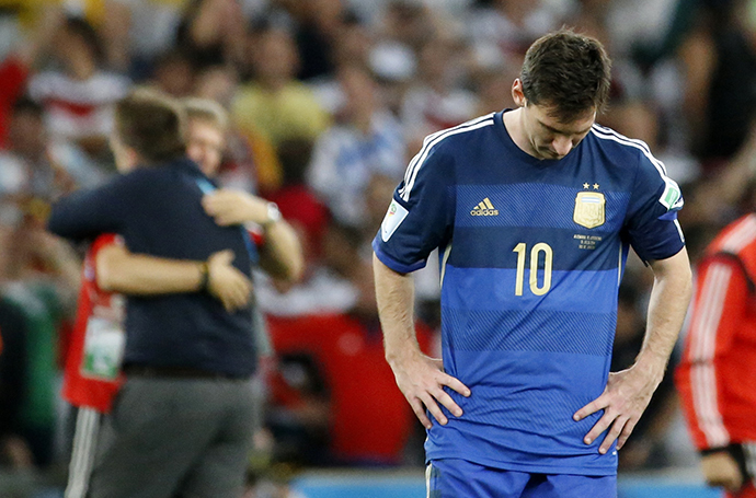 Argentina's Lionel Messi reacts after losing their 2014 World Cup final against Germany at the Maracana stadium in Rio de Janeiro July 13, 2014. (Reuters/Sergio Moraes)