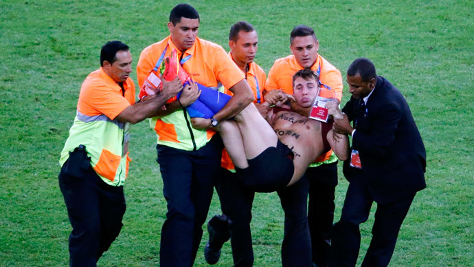 Russian comedian's pitch invasion at World Cup final goes viral on YouTube
