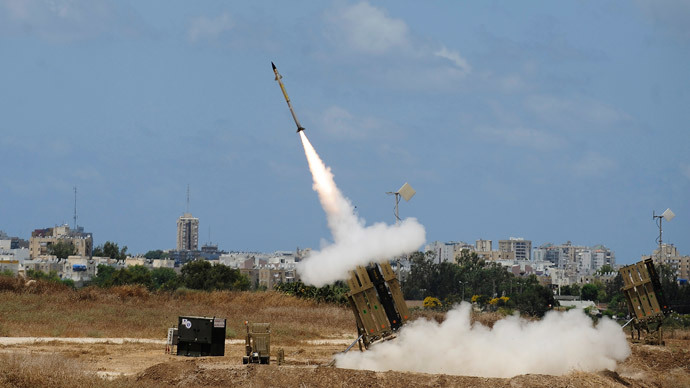 "A missile is launched by an ""Iron Dome"" battery, a short-range missile defence system designed to intercept and destroy incoming short-range rockets and artillery shells, on July 14, 2014 in the southern Israeli city of Ashdod.(AFP Photo / David Buimovitch)"