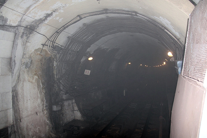 Smoke at the Okhotny Ryad subway station in Moscow (RIA Novosti)