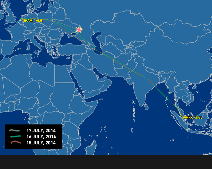 Malaysian Airlines MH17 flight paths on Tuesday, Wednesday and Thursday as reported by flightaware.com