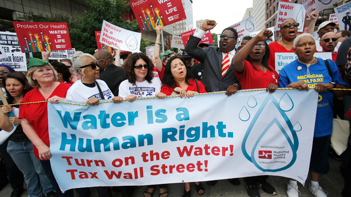 Thirsty for justice: Detroit protesters flood streets over water shutdown