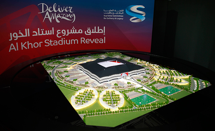 A scale model of the Al-Khor Stadium during a news conference to announce the start of work on the stadium in Al-Khor June 21, 2014 (Reuters / Mohammed Dabbous)