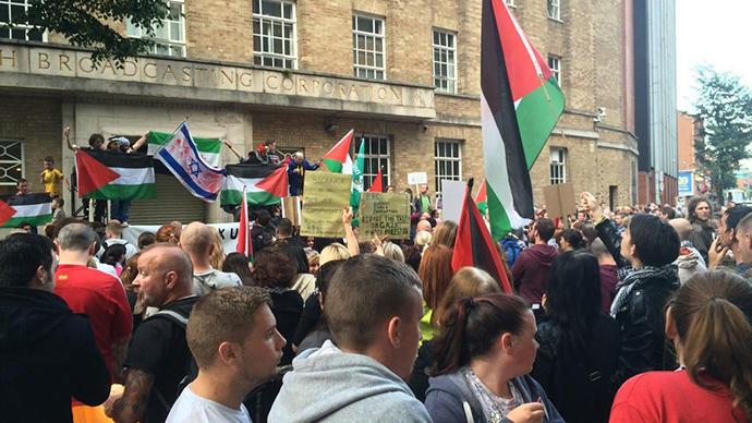 'British Bulls**t Corporation': Protest in Belfast accuses BBC of 'biased' Gaza coverage