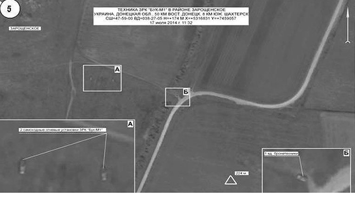 Buk missile defense units in Zaroschinskoe, 50km south of Donetsk city and 8km south of Shakhtyorsk, on July 17, 2014.Photo courtesy of the Russian Defense Ministry