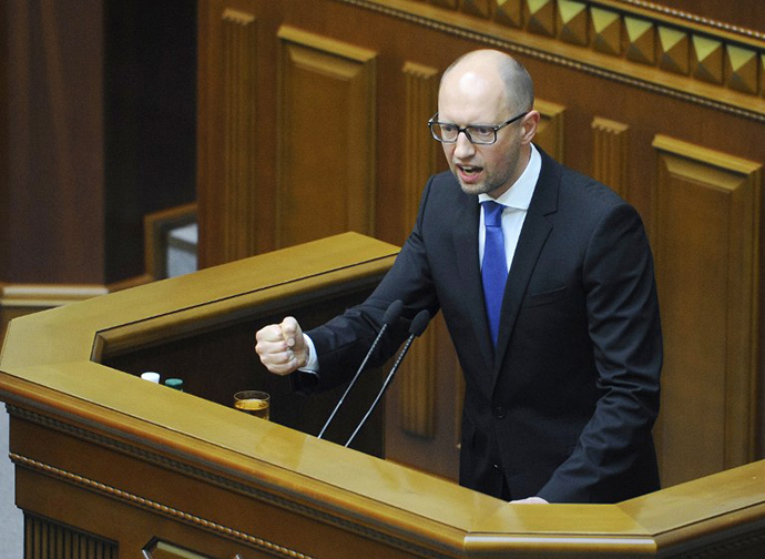 This handout picture taken and released by the Ukrainian Prime Minister Press-Service on July 24, 2014 shows Ukrainian Prime Minister Arseniy Yatsenyuk (AFP Photo / Andrew Kravchenko)