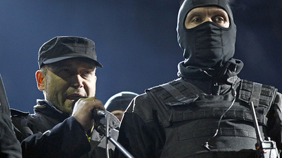 Ukrainian nationalist group blocks Russian gas stations, demands free gas