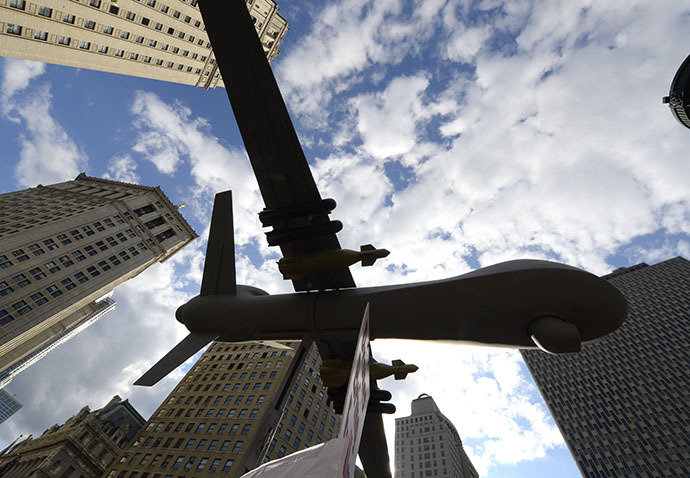 A model of a drone on display as New Yorkers gather to protest Israelís military assault in Gaza during a rally at Foley Square July 24, 2014 where they will read aloud over hundred names of the Palestinian children that killed in Israelís assault, before march through lower Manhattan. (AFP Photo / Timothy A. Clary)