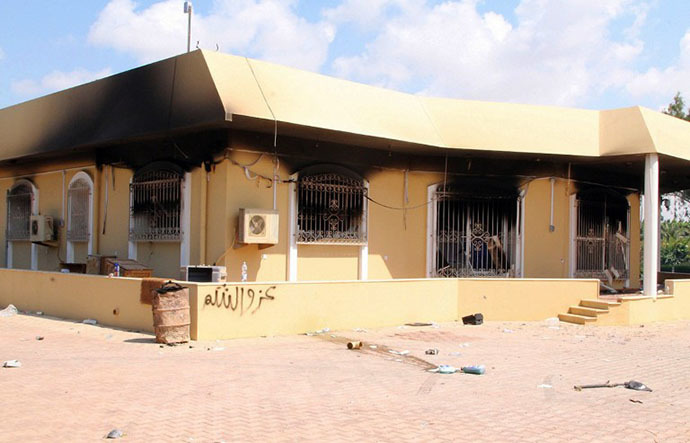 FILE photo. A burnt building is seen inside the US Embassy compound on September 12, 2012 in Benghazi, Libya. (AFP Photo)