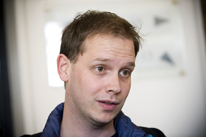 One of the co-founders of the file-sharing website, The Pirate Bay, Peter Sunde (AFP Photo / Jonathan Nackstrand)