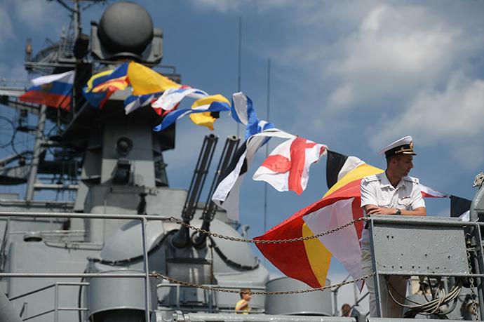 Large landing vessel Yamal during the Russian Navy Day celebrations in Sevastopol. (RIA Novosti / Konstantin Chalabov)