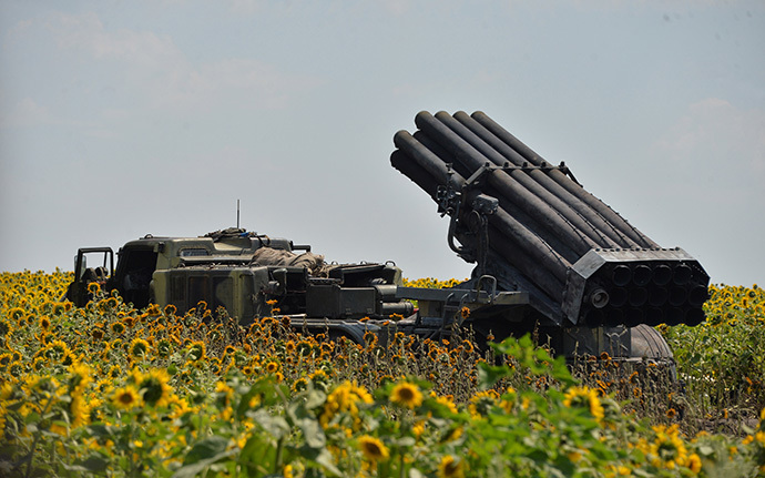 "A picture shows a Ukrainian multiple rocket launcher ""Grad"" set on the position near the eastern city of Seversk (AFP Photo / Genya Savilov)"