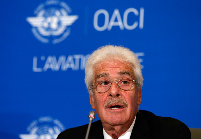 ICAO Secretary General Raymond Benjamin speaks during a press conference in Montreal, July 29, 2014.(Reuters / Christinne Muschi)