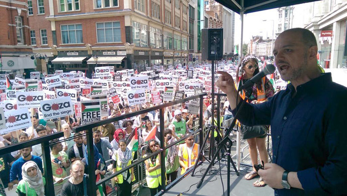 Anas Al Tikriti speaks at a recent protest in London against the the Israeli Administration's ongoing offensive in Gaza. (Photo from Twitter/@anasaltikriti)