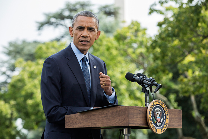 U.S. President Barack Obama speaks about new sanctions imposed on Russia as he departs the White House in Washington July 29, 2014 (Reuters / Joshua Roberts)