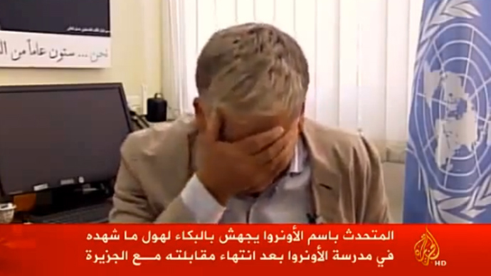 UN relief agency spokesman bursts into tears over deaths of Palestinian children