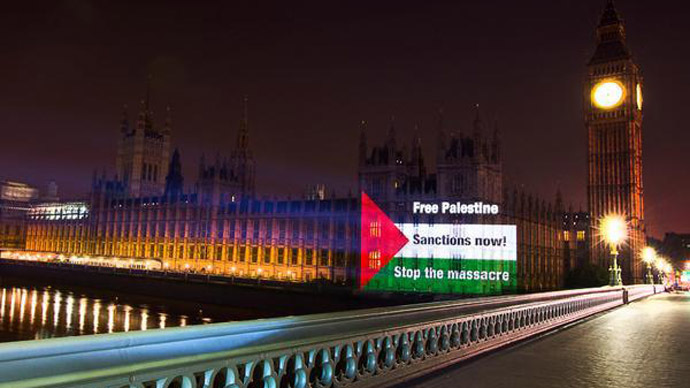 ​Projected protest: Pro-Palestine group beams flag on to Parliament