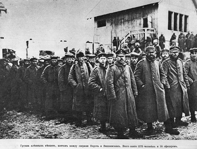 German prisoners of war seen during the Lake Naroch Offensive in March 1916, World War I (1914-1918). During the operation, the Russian Imperial Army took prisoner a total of 1,275 German soldiers. Image reproduced from a photograph. National History Museum. (RIA Novosti / Yuri Kaplun)