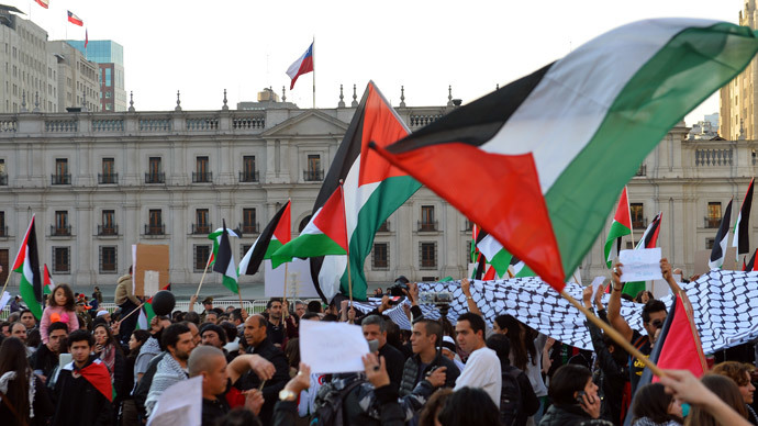 People take part in a demonstration outside the La Moneda presidential palace in Santiago, Chile, on August 02, 2014, to protest against Israel's military campaign in Gaza and show their support to the Palestinian people.(AFP Photo / Martin Bernetti)