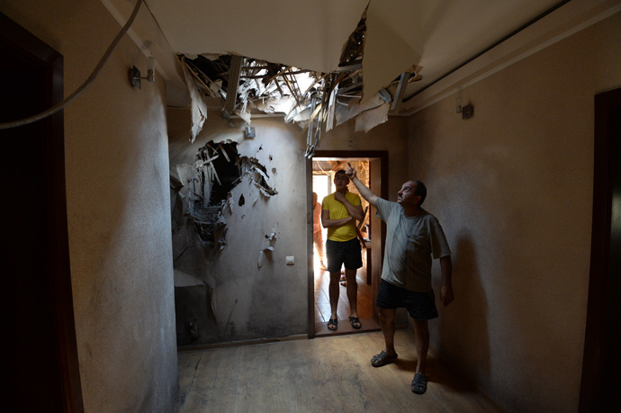 A damaged house in Gorlovka, Eastern Ukraine (RIA Novosti / Mikhail Voskresenskiy)