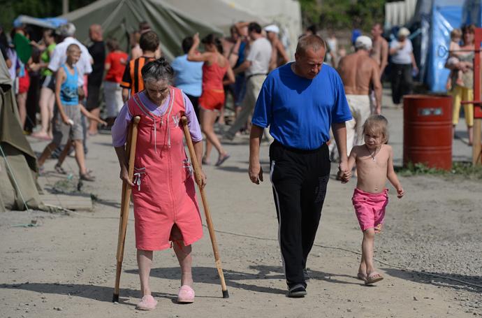 Ukrainian refugees in Russia's Gukovo in Rostov region. (RIA Novosti / Maksim Blinov)