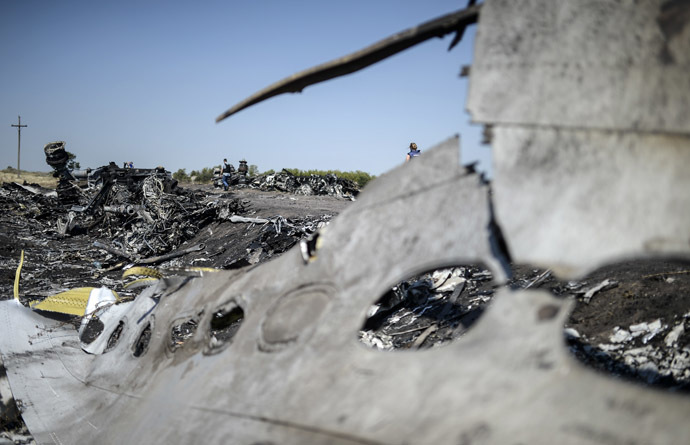 A part of the Malaysia Airlines Flight MH17 at the crash site in the village of Hrabove (Grabovo), some 80km east of Donetsk, on August 2, 2014. (AFP Photo)