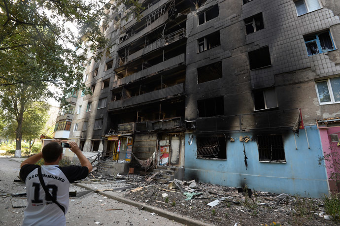 Residential buildings in Shakhtyorsk, destroyed by a Ukrainian military artillery attack. (RIA Novosti/Mikhail Voskresenskiy)