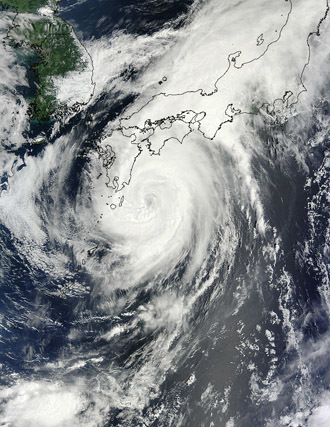 NASA's Terra satellite captured this image of Typhoon Halong on August 9, 2014 at 01:50 UTC.