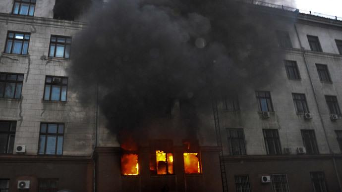 Fire at the Trade Union House in Odessa.(RIA Novosti / Maxim Voytenko)