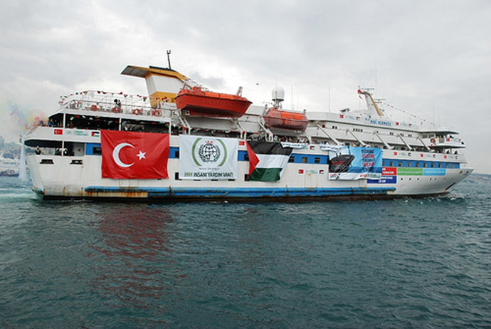"A picture shows an undated image taken from the Free Gaza Movement website on May 28, 2010 of the Turkish ship Mavi Marmara taking part in the ""Freedom Flotilla"" headed to the Gaza Strip. (AFP Photo)"