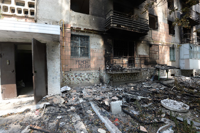 Residential buildings in Shakhtyorsk, destroyed by a Ukrainian military artillery attack. (RIA Novosti)