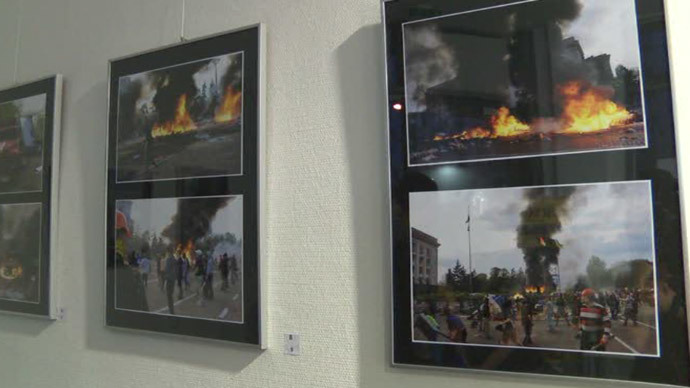 Photographs compiled for the exhibit in Berlin, Germany, August 2014. Screenshot from Ruptly Video