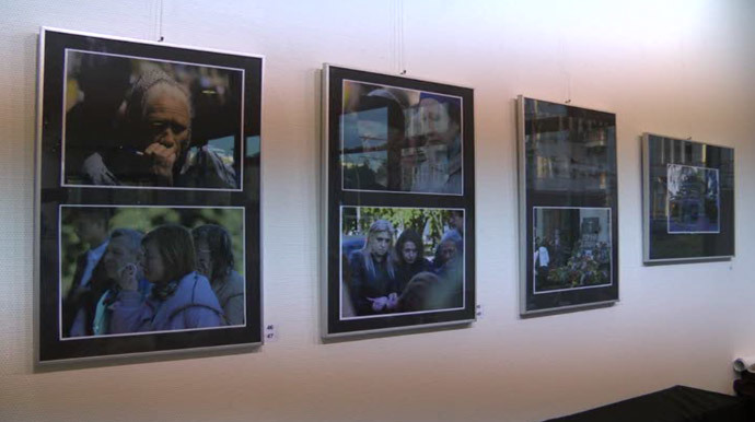 Over 50 photographs of the events of May 2 and the grief afterwards were shown at the exhibit, Berlin, Germany, August 2014. Screenshot from Ruptly Video