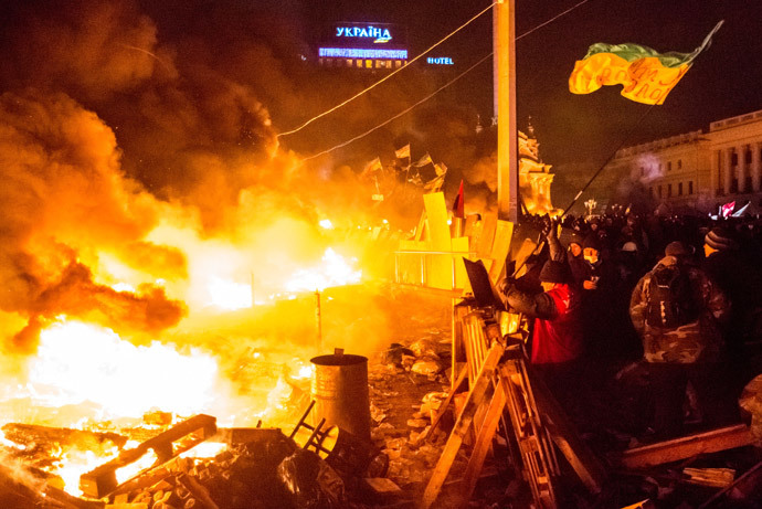 Opposition supporters on Maidan Square in Kiev where clashes between protesters and police began. (RIA Novosti / Andrey Stenin)