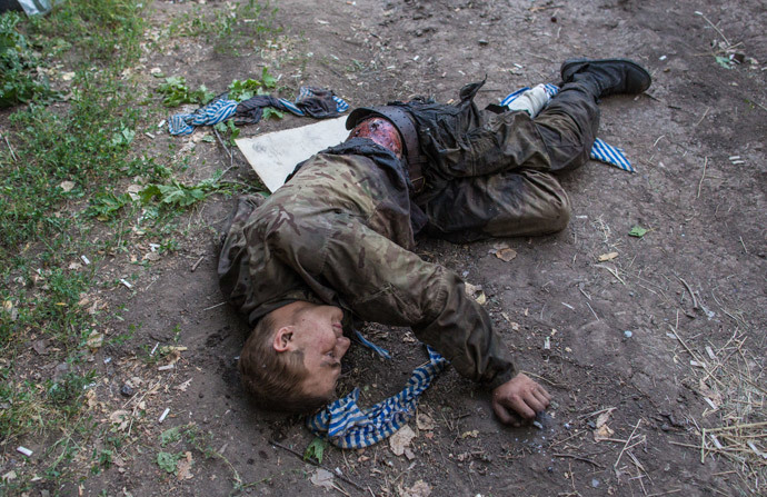 A wounded Ukrainian soldier captured during the battle for Shakhtyorsk. (RIA Novosti / Andrey Stenin)