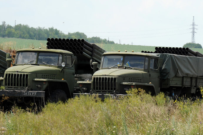 Ukrainian military Grad multiple rocket launchers are parked at a Ukrainian military position some 20km south of Donetsk, eastern Ukraine (AFP Photo / Dominique Faget)