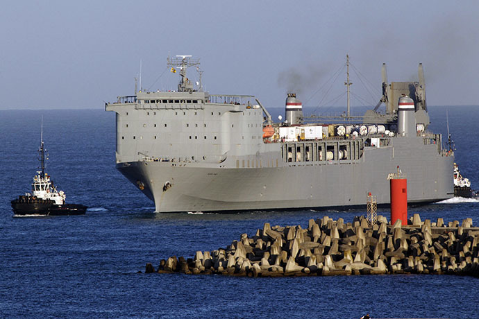 The US cargo ship MV Cape Ray arrives in the port of Gioia Tauro, southern Italy, early on July 1, 2014, as it waits for the arrival of the ARK FUTURE ship from Syria to load Syrian chemical weapons materials to be destroyed. (AFP Photo / Mario Tosti)