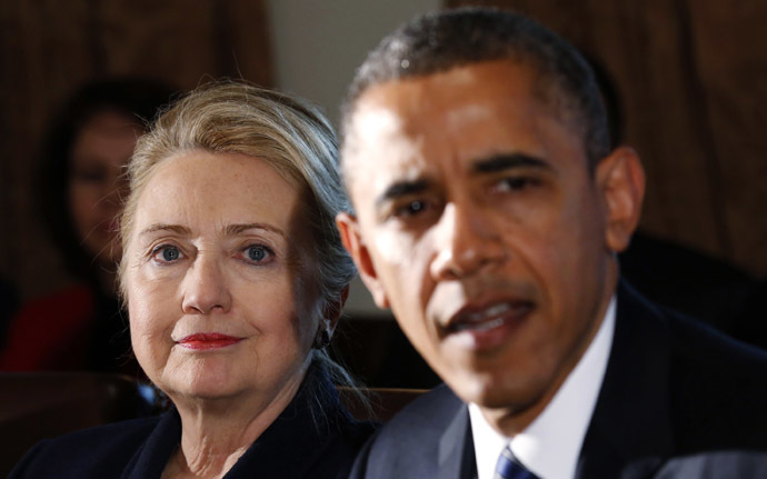 Hillary Clinton (L) and U.S. President Barack Obama (Reuters/Kevin Lamarque)
