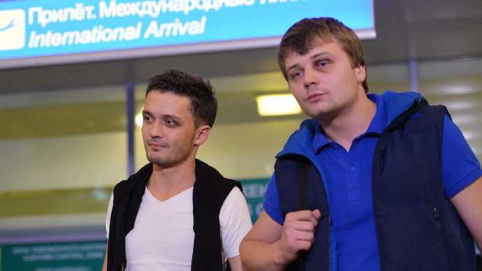Russian journalists Evgeny Davydov and Nikita Konashenkov (RIA Novosti)