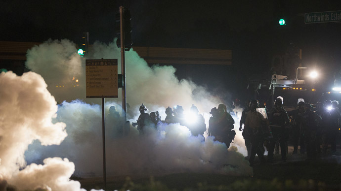 'No longer peaceful assembly': Ferguson SWAT fire tear gas, rubber bullets