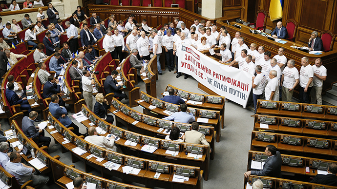 Ukraine's Parliament adopts law allowing sanctions against Russia