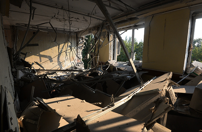 The rooms inside the Ilovaisk Construction Department building destroyed during bombardment by the Ukrainian Army. (RIA Novosti / Mikhail Voskresenskiy)
