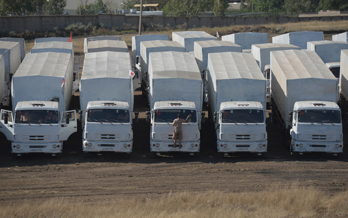 A convoy of Kamaz trucks carrying humanitarian aid for people in southeastern Ukraine in a rest area not far from Kamensk-Shakhtinsky in the Rostov Region. (RIA Novosti / Maksim Blinov)