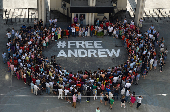 Flash mob #Free Andrew in support of the Russia Today photograper Andrei Stenin who has got lost in Ukraine. (RIA Novosti / Valeriy Melnikov)