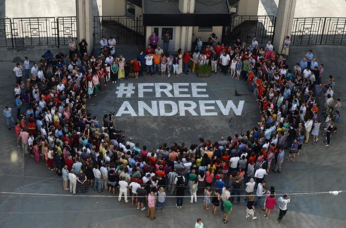 Flash mob #Free Andrew in support of the Russia Today photograper Andrei Stenin who has got lost in Ukraine. (RIA Novosti / Valeriy Melnikov)