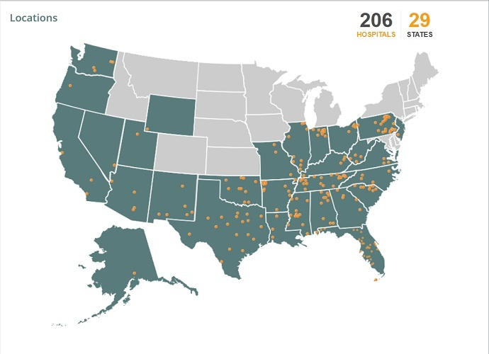 Locations of Community Health Systems-operated hospitals (Image by CHS, Inc.)