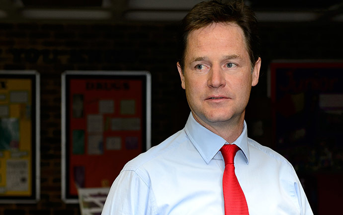 Deputy Prime Minister and Liberal Democrat party leader Nick Clegg (AFP Photo / Leon Neal)